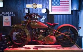 Обои байк, мотоцикл, Harley Davidson, ретро, стиль