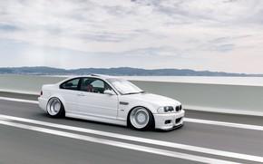 Картинка Небо, Авто, Белый, BMW, Машина, Белая, БМВ, Автомобиль, E46, BMW M3, Немец, BMW E46, BMW …