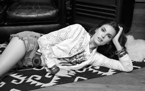 Картинка девушка, фото, черно-белое, Camila Queiroz