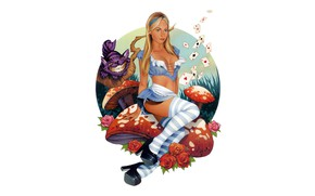 Картинка девушка, арт, Алиса, чеширский кот