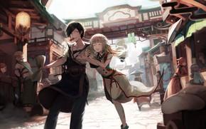 Картинка девушка, Улица, Парень, Final Fantasy, Последняя Фантазия