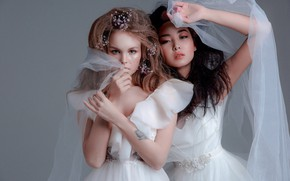 Картинка стиль, две девушки, модели, фата, свадебное платье, невесты, Анастасия Щеглова, Anastasiya Scheglova, Любовь Субботина