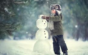 Картинка снеговик, мальчик, ребенок, зима