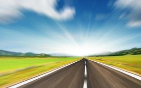 Картинка дорога, поле, небо, горы, скорость