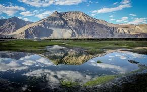 Картинка облака, небо, India, Ladakh, горы, отражение, Nubra Valley, Индия