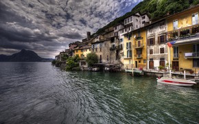 Картинка озеро, HDR, Швейцария, Lake Lugano, Gandria