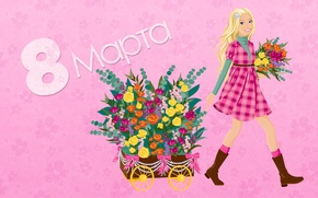 Обои весна, colorful, девушка, 8 марта, spring, holiday, flowers, цветы