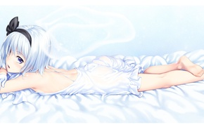 Картинка постель, лежит, перчатки, бант, комбинезон, touhou, белые волосы, art, Myon, Konpaku Youmu, Touhou Project, Проект …