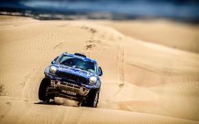 Картинка Песок, Mini, Синий, Спорт, Пустыня, Скорость, Гонка, Rally, Внедорожник, Ралли, Передок, Дюна, X-Raid Team, MINI …