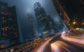 Картинка выдержка, город, движение, Гон-Конг, ночь, свет, Китай