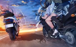 Обои аниме, девушки, мотоциклы, дорога, скорость, Grisaia: Phantom Trigger