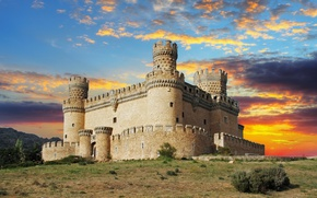 Обои закат, облака, небо, крепость, вечер, замок, Manzanares el Real Castle, Испания