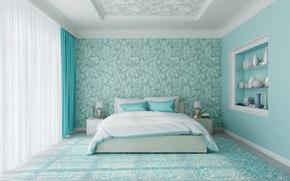Обои bed, bedroom, decoration, Room