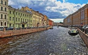 Картинка облака, блики, река, Мойка, Санкт-Петербург, катера