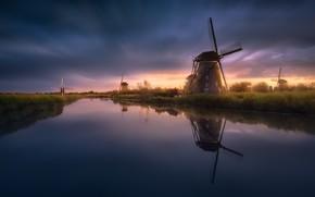 Обои вода, гладь, канал, Нидерланды, ветряные мельницы