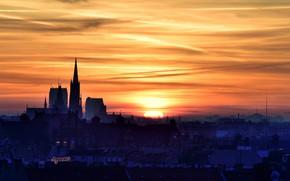 Картинка закат, город, Wroclaw