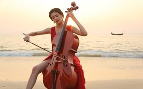 Картинка скрипка, girl, hot, sexy, красное платье, eyes, beautiful, figure, model, pretty, beauty, lips, face, hair, …