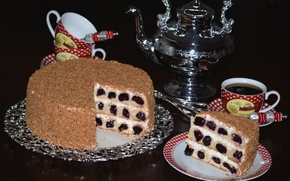 Картинка вишня, кофе, чашки, торт, крем, выпечка
