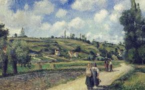 Картинка дорога, люди, холмы, картина, Камиль Писсарро, Пейзаж возле Понтуаза. Оверс-Роуд