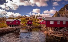 Обои облака, небо, солнце, Норвегия, берег, залив, горы, лодка, домики, камни, Лофотенские острова, Lofoten Cathedral
