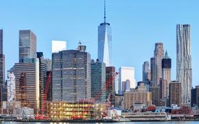 Картинка здания, дома, Нью-Йорк, небоскребы, залив, США