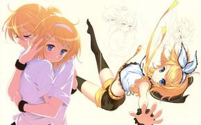 Картинка девушка, аниме, арт, парень, двое, Vocaloid, Вокалоид, персонажи