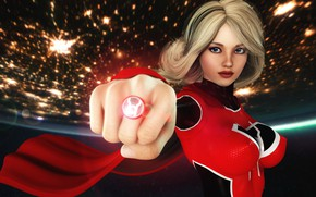 Обои red, girl, supergirl, ring, planet, graphic, flashlight, red lantern, DC, 3D
