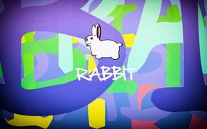 Картинка буквы, рисунок, кролик, Животные, rabbit, разные цвета, разноцветный фон