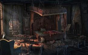 Картинка кровь, кровать, инструменты, помещение, Bedroom