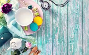 Картинка цветы, завтрак, colorful, чашка, десерт, wood, пирожные, сладкое, sweet, dessert, macaroon, french, macaron, макаруны