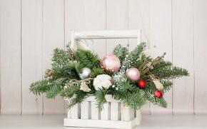 Картинка шары, хлопок, украшение, ветки ели, новогодний букет