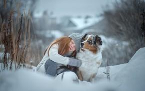 Картинка зима, радость, счастье, собака, девочка, друзья