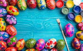 Картинка краски, весна, colorful, Пасха, wood, spring, Easter, eggs, decoration, Happy, яйца крашеные
