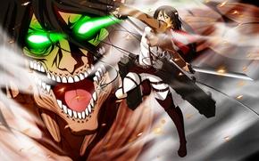 Картинка аниме, арт, Титан, Микаса, Shingeki no Kyojin, Эрен, Атака титанов, Вторжение гигантов