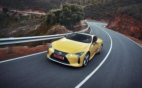 Картинка car, Lexus, yellow, speed, Lexus LC 500