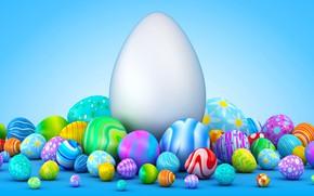 Обои маленькие, куча, пасха, яйца, большие, фон, 3d графика, праздник, разноцветные, много