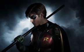 Обои костюм, Titans, фантастика, маска, ночь, TV Series, дым, Брентон Туэйтс, супергерой, Титаны, Robin, Brenton Thwaites, ...