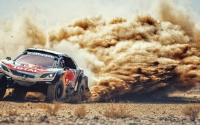 Обои Песок, Авто, Пыль, Спорт, Машина, Скорость, Камни, Гонка, Занос, Peugeot, Red Bull, Rally, Dakar, Дакар, ...