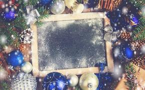 Картинка снег, украшения, шары, игрушки, Новый Год, Рождество, happy, Christmas, vintage, balls, snow, New Year, Merry …