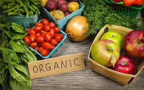 Картинка яблоки, лук, овощи, помидор, базилик