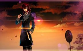 Картинка закат, парень, Курама, Yu Yu Hakusho