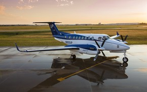 Картинка небо, вода, закат, самолёт, Beechcraft, 1900D, Beechcraft 1900D