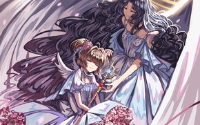 Картинка девочки, ангел, аниме, арт, Card Captor Sakura, Сакура собирательница карт