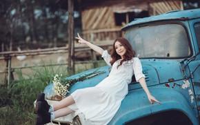Картинка машина, девушка, цветы