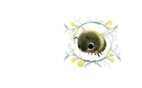 Картинка цветок, рисунок, арт, пчёлка, детская, мимоза, Sydney Hanson