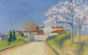 Картинка деревья, пейзаж, дома, картина, весна, цветение, Achille Lauge, Ашиль Ложе, Дорога Ведущая в Кайо