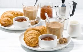 Обои кофе, завтрак, джем, круассаны