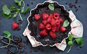 Обои шоколад, еда, пирог, сладкое, малина