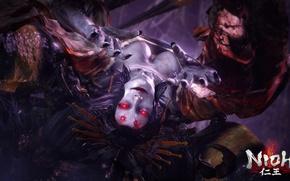 Картинка глаза, женщина, волосы, игра, паук, демон, nioh