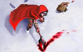 Картинка холод, снег, пятна, порезы, топор, art, Красная Шапочка, раны, тату на руке, смертельная схватка, лужа …